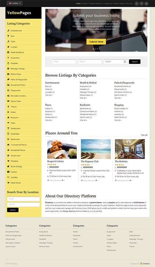 Yellow Pages WordPress Theme by Templatic | Best wordpress theme 2014